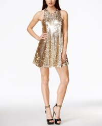Guess Sleeveless Sequin Shift Dress Rose Gold Multi