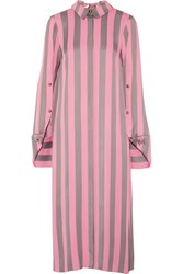 Monse Draped Striped Satin Crepe Midi Dress Pink