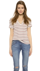 Edith A. Miller Henley Short Sleeve Tee Nat Red Blue Stacked Stripe