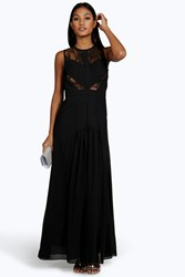 Boohoo Cara Ruched And Lace Detail Maxi Dress Black