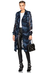 Burberry London Dartford Lace Trench Coat In Blue Floral Blue Floral