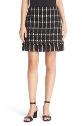 Tory Burch Women's 'Marisol' Fringe Hem Plaid Tweed Miniskirt