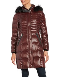 Karl Lagerfeld Faux Fur Trimmed Down Puffer Jacket Red