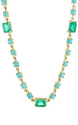 Irene Neuwirth Diamond Collection Women's Emerald And Turquoise Geometric Link Necklace Gold