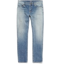 Saint Laurent Skinny Fit Faded Washed Denim Jeans Blue
