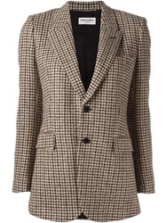 Saint Laurent Houndstooth Buttoned Blazer Brown