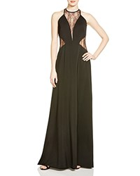 Aqua Illusion Lace Inset Crepe Gown 100 Bloomingdale's Exclusive Black