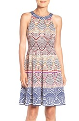 London Times Women's Graphic Jacquard Fit And Flare Dress