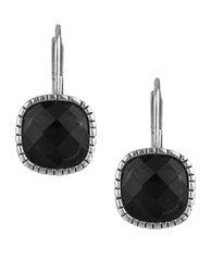 The Sak Cushion Cut Crystal Leverback Earrings Black