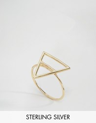 Asos Gold Plated Sterling Silver Open Triangle Ring Gold