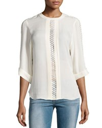 Halston 3 4 Sleeve Silk Chiffon Blouse Bone