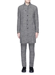 Attachment Glen Plaid Crinkled Wool Blend Coat Grey