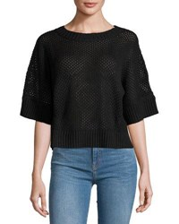 Todd And Duncan Cashmere Blend Open Stitch Top Blk