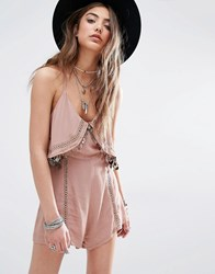 Kiss The Sky Festival Cami Playsuit With Coin Trim Coco Brown