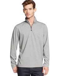 Alfani Black Big And Tall Solid Quarter Zip Long Sleeve Shirt Zinc Heather