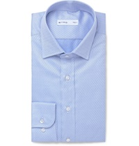 Etro Slim Fit Printed Cotton Shirt Blue
