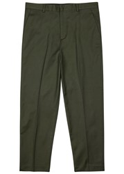 Plac Army Green Cropped Twill Trousers
