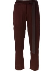 Ann Demeulemeester Cropped Trousers Red