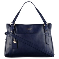 Radley Chelsea Leather Small Zip Top Grab Bag Navy