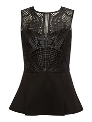 Lipsy Caged Lace Long Sleeved Peplum Top Black