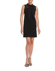 Taylor Crepe Tie Neck Shift Dress Black
