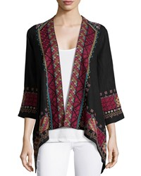 Johnny Was Jeanette Linen Draped Cardigan W Embroidery Black