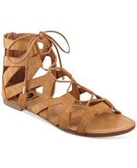 G By Guess Lookie Lace Up Gladiator Sandals Women's Shoes Cognac