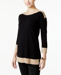 Cable And Gauge Contrast Trim Sweater Only At Macy's Camel Hair Tip Black