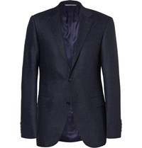 Canali Blue Sienna Slim Fit Slub Wool And Silk Blend Suit Jacket Navy