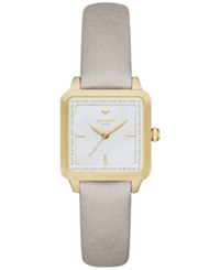 Kate Spade New York Women's Washington Square Clocktower Gray Leather Strap Watch 25Mm Ksw1130 Gold