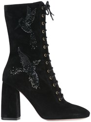 Red Valentino Sequined Bird Lace Up Boots Black