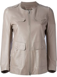 Sylvie Schimmel Double Sided Pockets Leather Jacket Nude And Neutrals