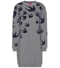Mcq By Alexander Mcqueen Printed Cotton Blend Sweater Dress Grey