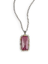 Bavna Ruby Multicolor Diamond And Sterling Silver Pendant Necklace Silver Red