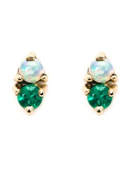 Wwake Opal And Emerald Stud Earrings Metallic