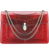 Bulgari Serpenti Forever Snakeskin Shoulder Bag Ruby Red