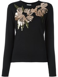 P.A.R.O.S.H. Sequin Embellished T Shirt Black
