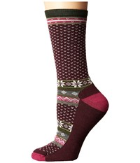 Smartwool Cozy Cabin Crew Aubergine Heather Women's Crew Cut Socks Shoes Brown