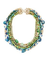 Stephen Dweck Multi Strand Mixed Stone And Pearl Necklace Blue Green