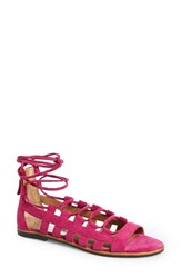 Women's Franco Sarto 'Appalachia' Lace Up Sandal Fuschia Suede