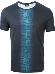 Fendi Embossed Crocodile Print Panel T Shirt Blue