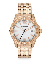 Saks Fifth Avenue Stainless Steel And Deco Crystal Bezel Watch Rose Gold