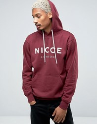 Nicce London Hoodie With Large Logo Burgundy Red