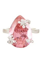 Butterfly Pear Shape Pink And White Cz Simulated Diamond Ring