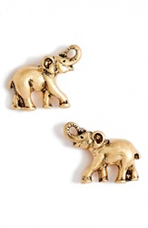 Lonna Lilly Elephant Stud Earrings Worn Gold