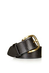 Topshop Crackle Leather Jeans Belt Black
