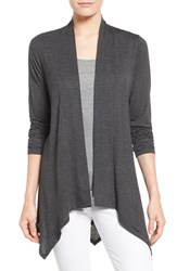 Women's Bobeau Stripe Lightweight Knit Open Front Cardigan Black Charcoal