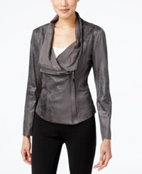 Calvin Klein Distressed Faux Leather Moto Jacket Dark Gray