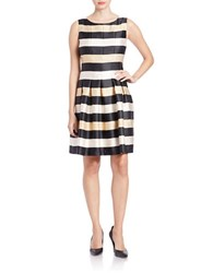 Chetta B Striped Fit And Flare Dress Black Gold