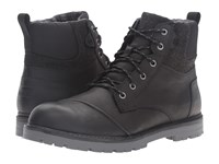 Toms Ashland Boot Black Leather Herringbone Men's Lace Up Boots